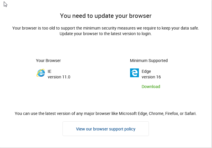 Online banking screenshot: updating browser
