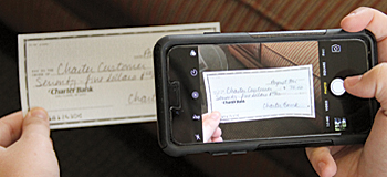 Phone taking a picture of a check for remote deposit