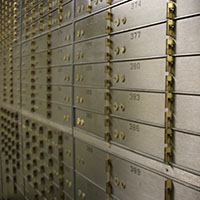 Room of safety deposit boxes