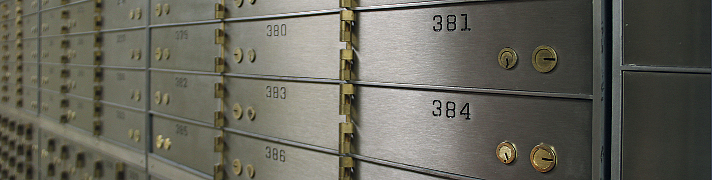 wall of safety deposit boxes