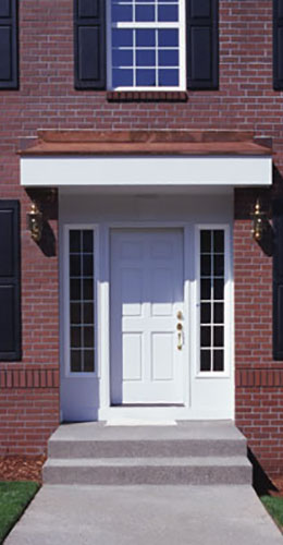 Brick house with white door