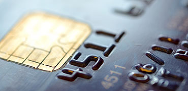 Close up of debit card