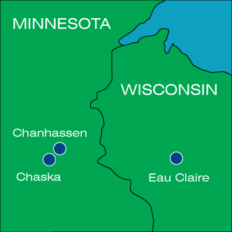 Map of MN and WI with dots for Chanhassen, Chaska, and Eau Claire