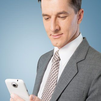 Man looking at his smart phone