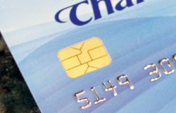 Close-up of a Charter Bank debit card