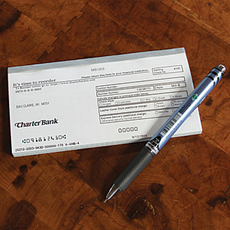 Close-up of checks