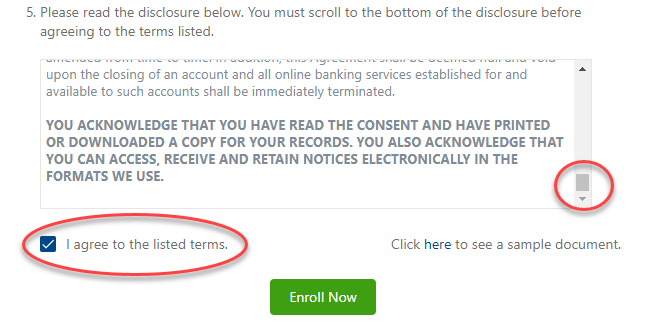 Online banking screenshot: agreeing to listed terms