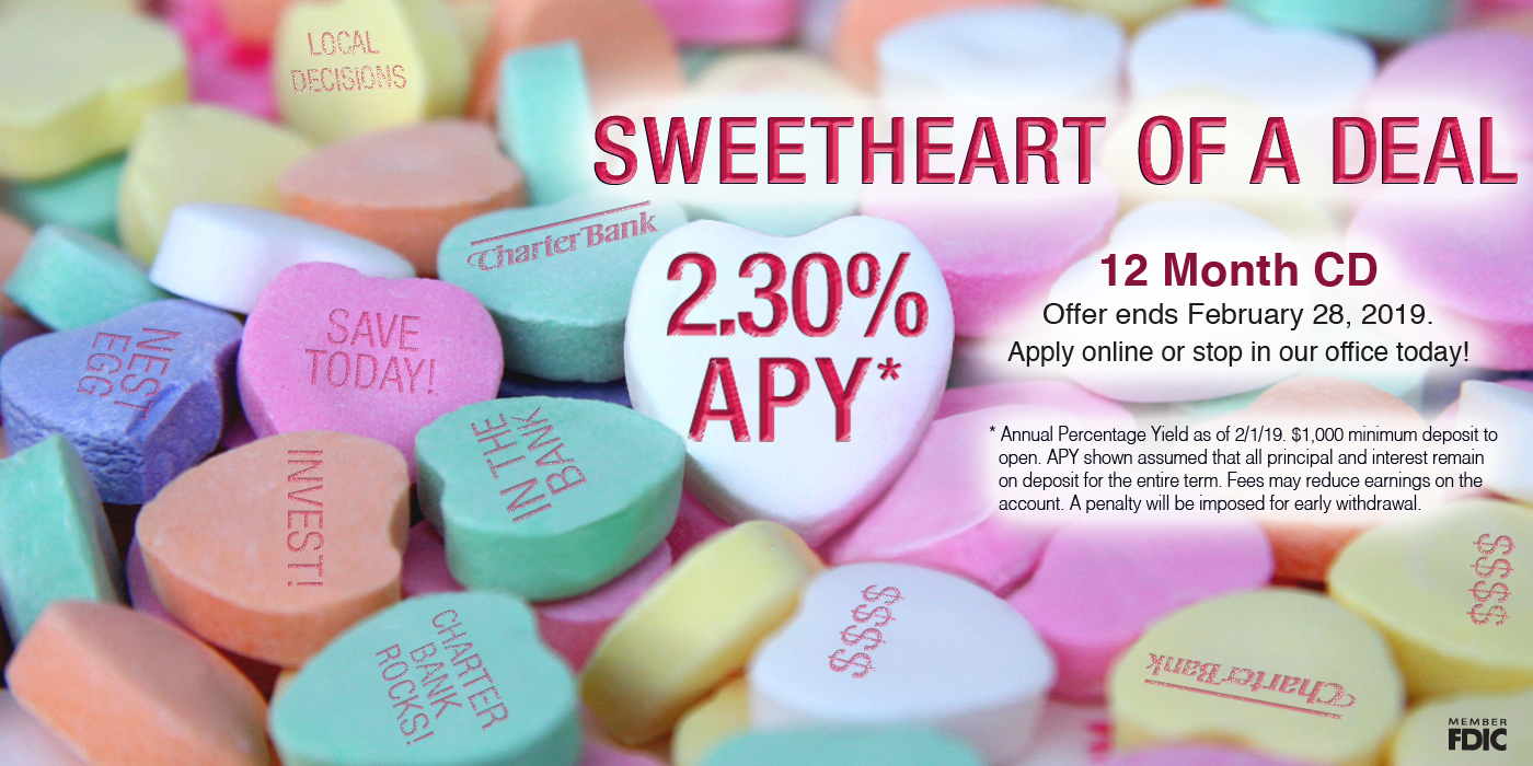 Sweetheart of a deal! Candy hearts with words like 'nest egg' and 'save today' written on them