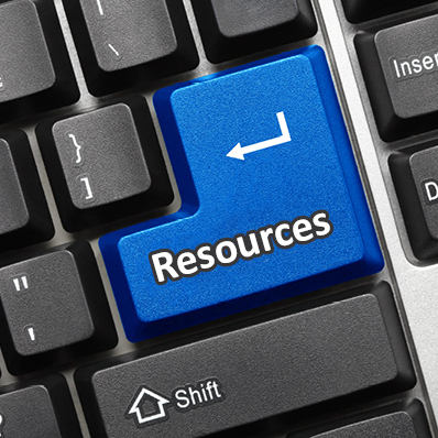 Computer button saying Resources